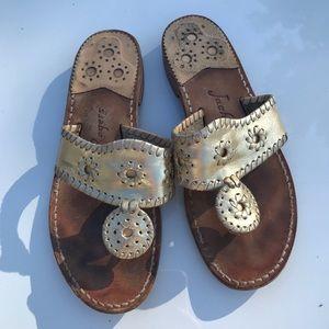 Jack Rogers Women's Gold Jack Flat Sandals (7)